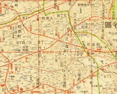 新制三十五区鮮明改正町名番地入大東京新地図1936