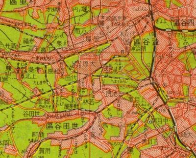 東京都全図1943・下北沢周辺